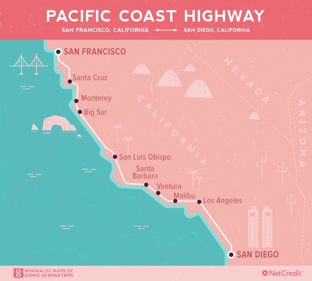 Карта дня: 8 культовых роудтрипов по США Карта дня: 8 культовых роудтрипов по США 01 Minimalist maps of 8 iconic US road trips Pacific Coast