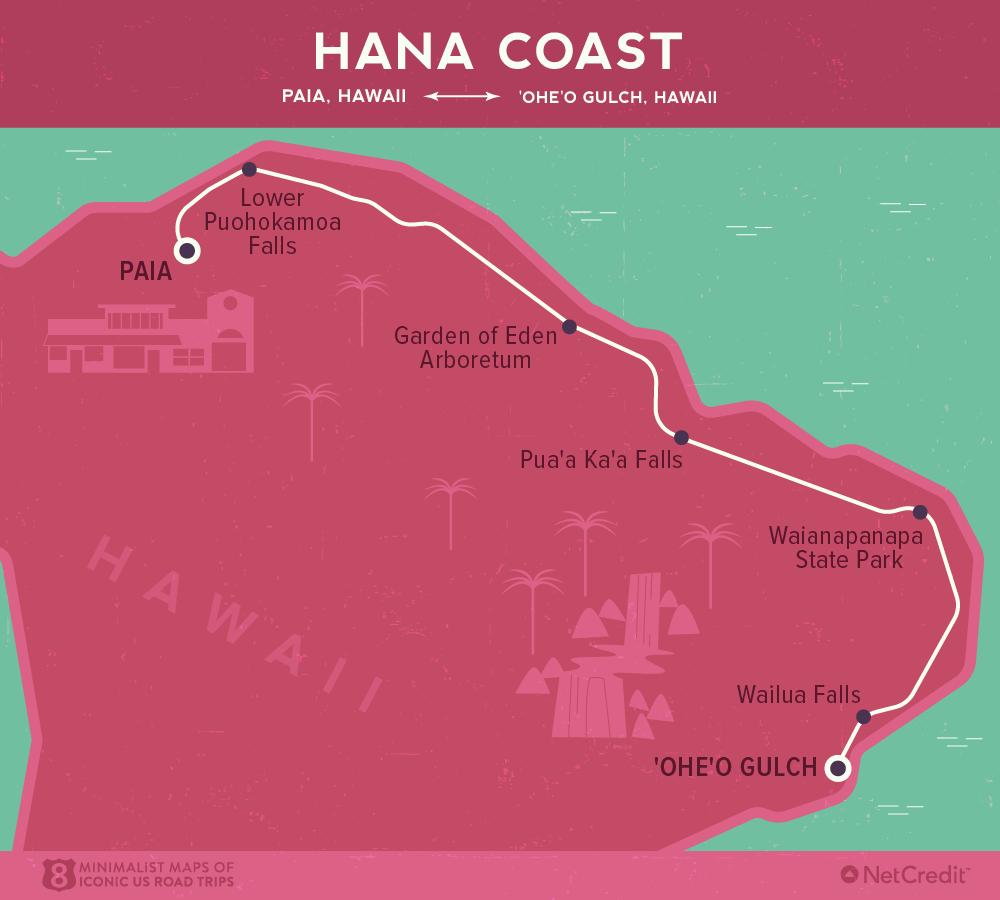 Карта дня: 8 культовых роудтрипов по США Карта дня: 8 культовых роудтрипов по США 05 Minimalist maps of 8 iconic US road trips Hana Coast