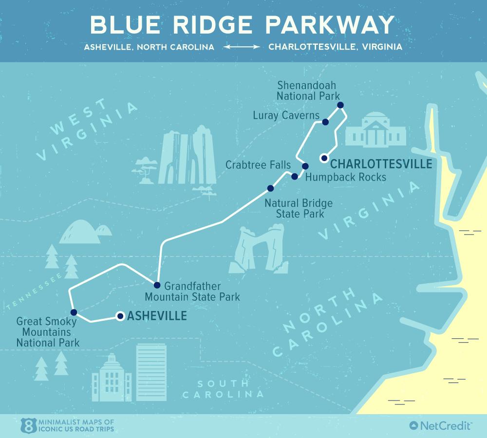 Карта дня: 8 культовых роудтрипов по США Карта дня: 8 культовых роудтрипов по США 06 Minimalist maps of 8 iconic US road trips Blue Ridge