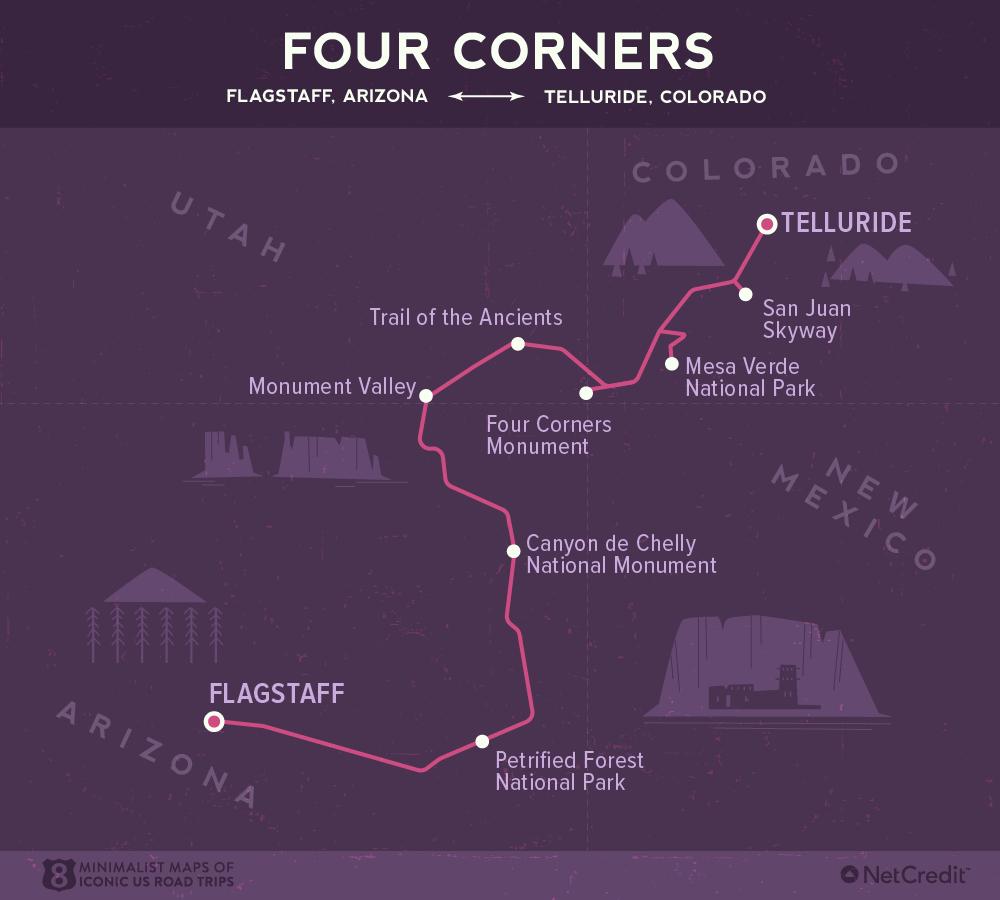 Карта дня: 8 культовых роудтрипов по США Карта дня: 8 культовых роудтрипов по США 07 Minimalist maps of 8 iconic US road trips Four Corners