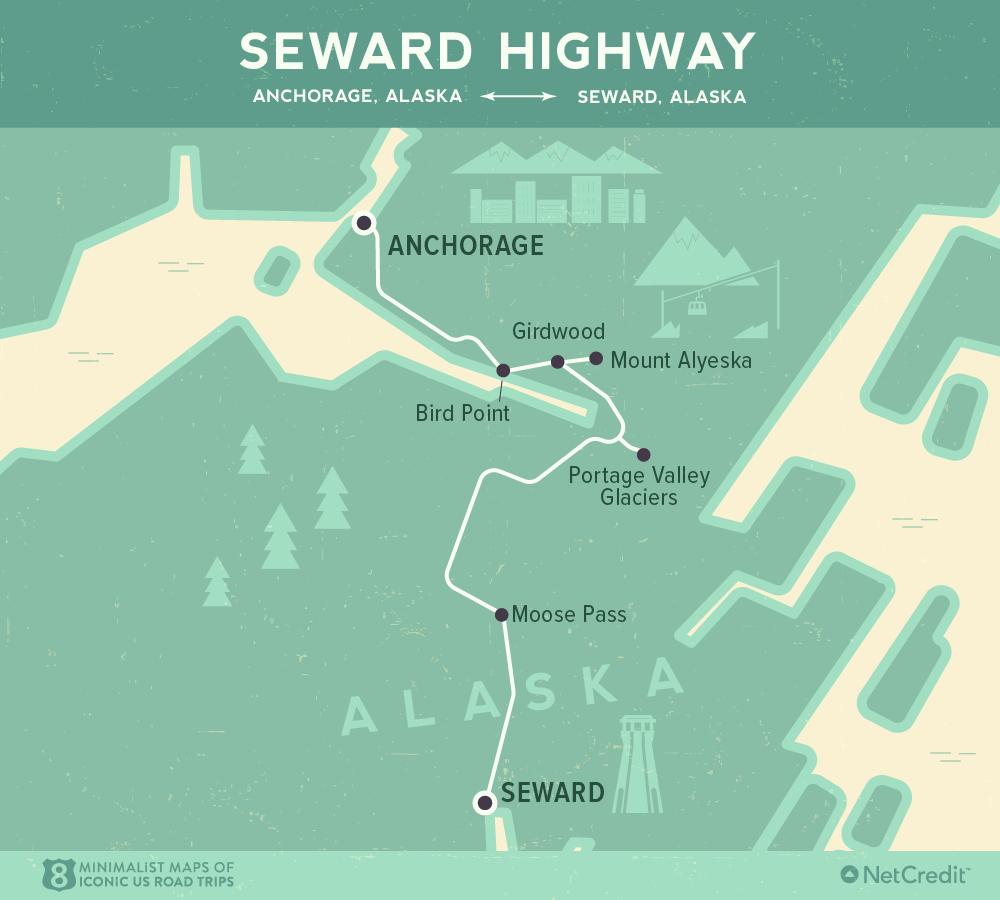 Карта дня: 8 культовых роудтрипов по США Карта дня: 8 культовых роудтрипов по США 08 Minimalist maps of 8 iconic US road trips Seward